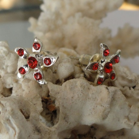 Boucles d'oreilles fleur 6 strass diamant Cz rouge