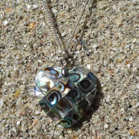 Pendentif coeur nacre abalone