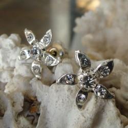 Boucles d'oreilles fleur 6 strass diamant Cz transparent femme