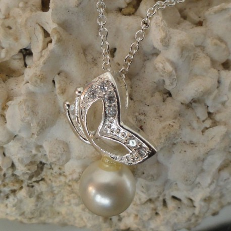Collier chaine argentée pendentif Papillon strass diamant Cz perle blanche eau douce Lac Biwa