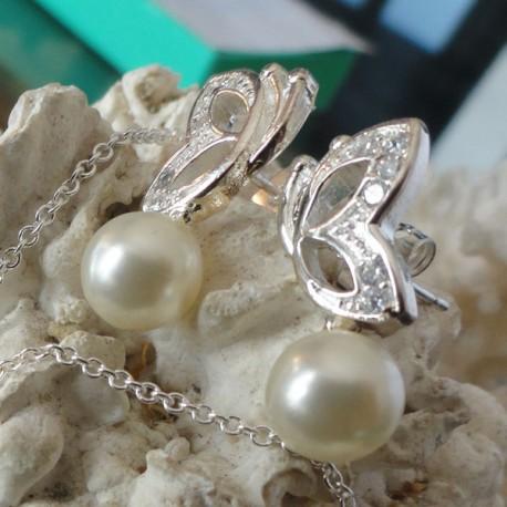 Boucles d'oreilles papillon strass diamant Cz perle blanche eau douce Lac Biwa