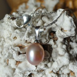 Collier 42 cm pendentif perle pêche saumon goutte 7mm eau douce Lac Biwa