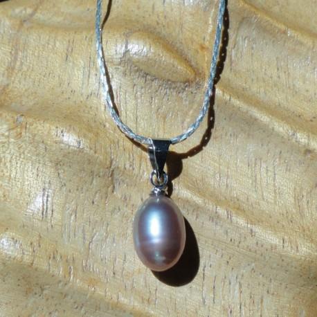 Collier 42 cm pendentif perle lavande goutte 7mm eau douce Lac Biwa pour femme