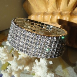 Bracelet 6 rangs de strass diamant Cz transparent