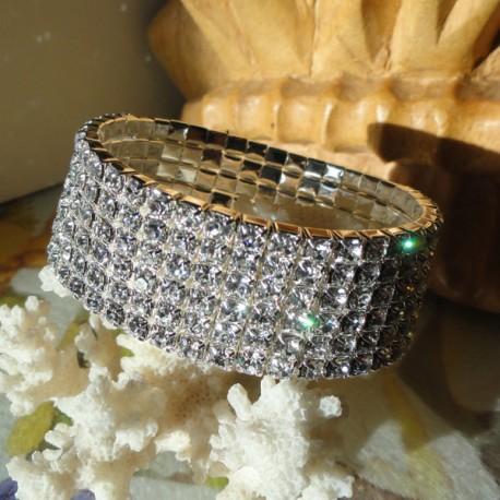 Bracelet élastique 6 rangs de strass diamant Cz transparent