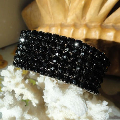 Bracelet 6 rangs de strass diamant Cz noir