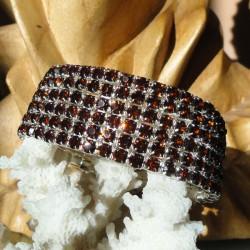 Bracelet 6 rangs de strass diamant Cz marron