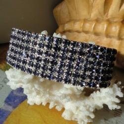 Bracelet 6 rangs de strass diamant Cz gris