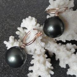 Boucles d'oreilles perles akoya 14 mm gris noir