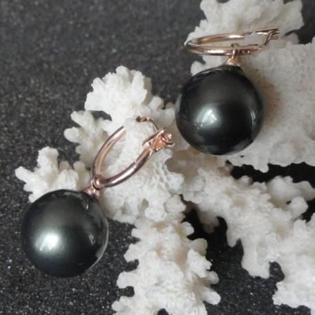 Boucles d'oreilles perles akoya 14 mm gris noir plaqué or