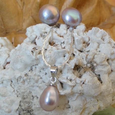 Parure collier perle poire lavande + Boucles d'oreilles perle lavande 12 mm lac biwa