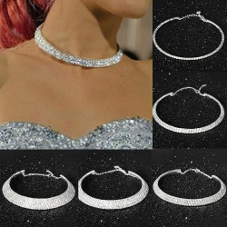 Collier choker 3 rangs strass diamant blancs , ras du cou