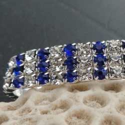 Bracelet 3 rangs strass diamant Cz et bleus