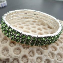"""Bracelet 3 rangs strass diamant Cz vert d""""eau réglable élastiqué"""