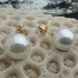 Boucles d'oreilles perles blanches akoya 10 mm