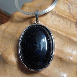 Collier Pendentif Femme ovale pierre blue sand + collier serpent rond argenté EQUILIBRE DES ENERGIES