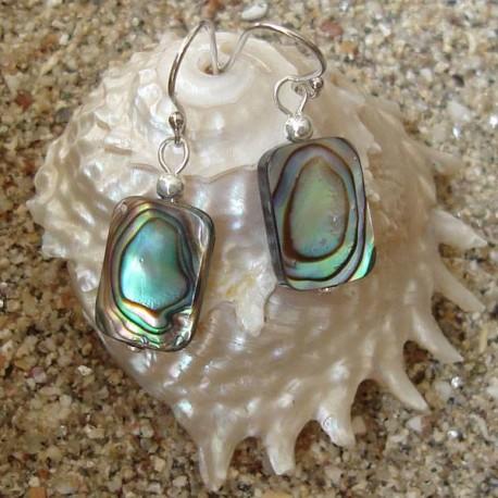 Boucles d oreilles nacre abalone rectangle 100% naturelle