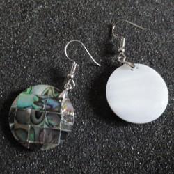 Boucles d oreilles ronde carrés de nacre abalone