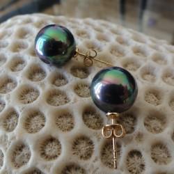 Boucles d'oreilles perles bleues vertes akoya 12 mm