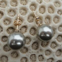 Boucles d'oreilles clou tige perle noire akoya 12 mm