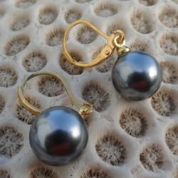 Boucles d'oreilles pendante perle noire akoya 8 mm