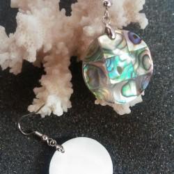 Boucles d oreilles nacre abalone ronde 2.5 cm