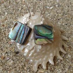 Boucles d oreilles nacre abalone carrée 1 cm