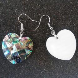 Boucles d oreilles nacre abalone coeur