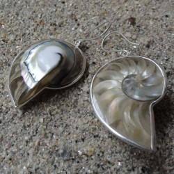 Boucles d oreilles nacre nautile naturel